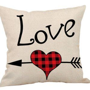 Pillow Cover- NEW- Valentine Love Heart Plaid